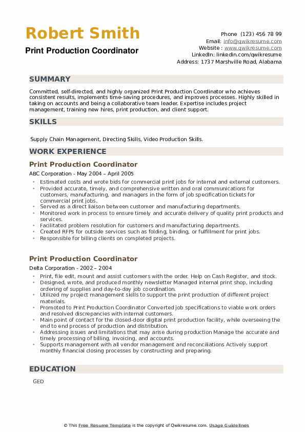 Print Production Coordinator Resume example