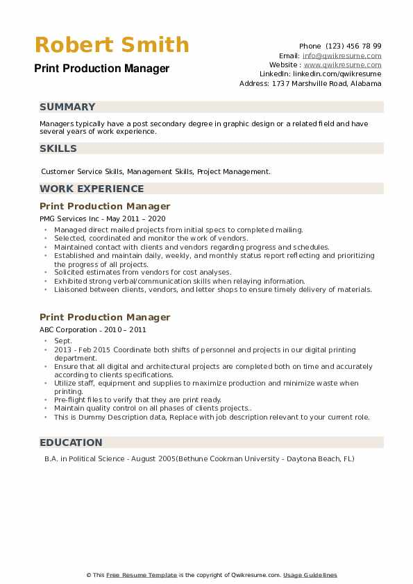 Print Production Manager Resume example