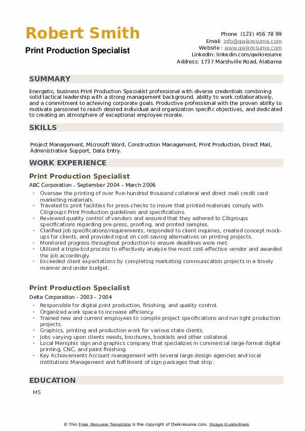 Print Production Specialist Resume example