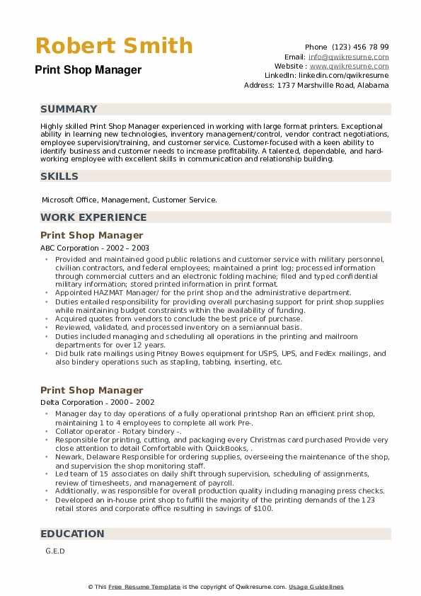 Print Shop Manager Resume example