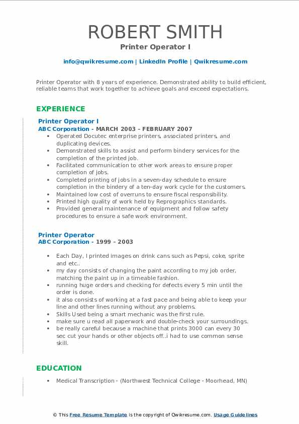 Printer Operator I Resume Format