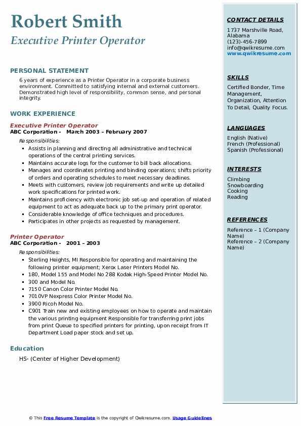 Executive Printer Operator  Resume Format