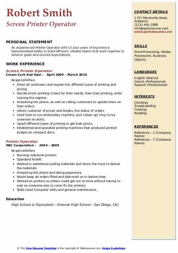 Screen Printer Operator Resume Sample