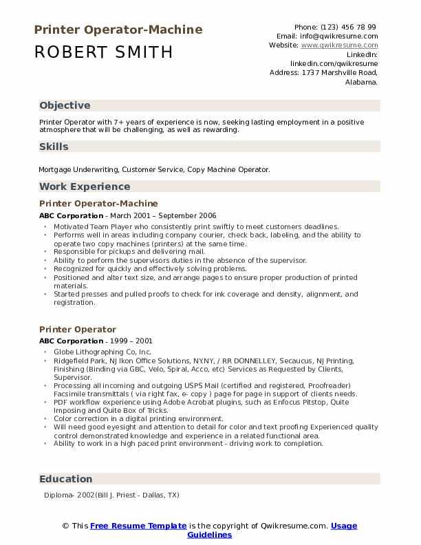 Printer Operator-Machine Resume Format