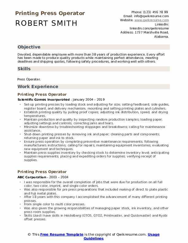 Printing Press Operator Resume Format