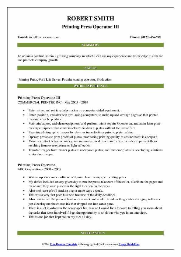 Printing Press Operator III Resume Template