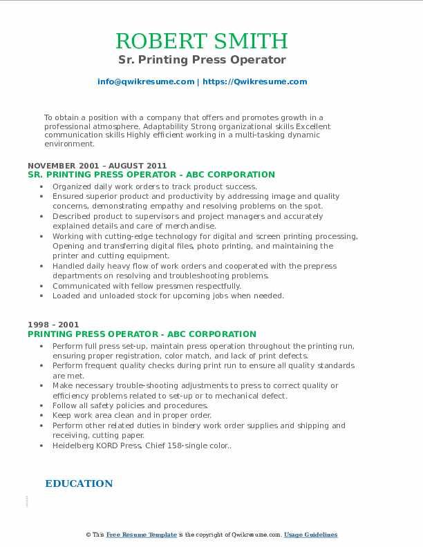 Sr. Printing Press Operator Resume Format