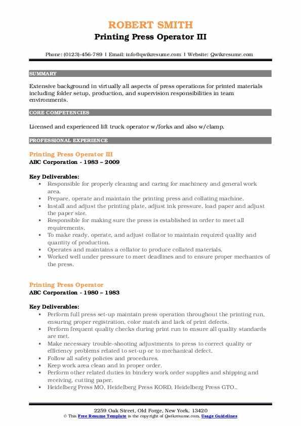 Printing Press Operator III Resume Example