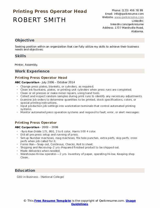 Printing Press Operator Head Resume Format