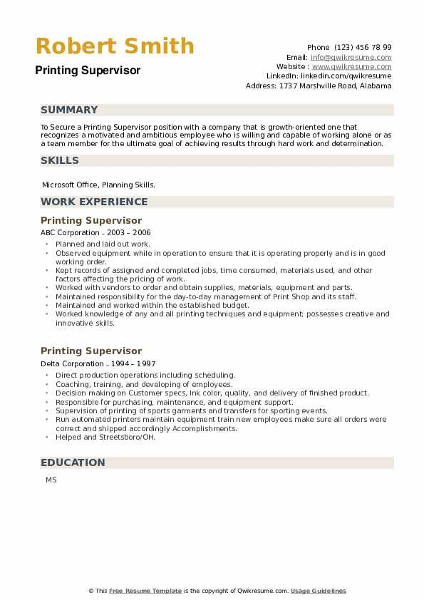 Printing Supervisor Resume example