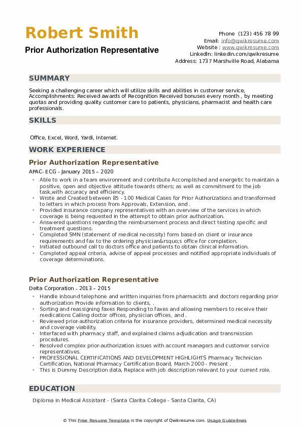 Prior Authorization Representative Resume example