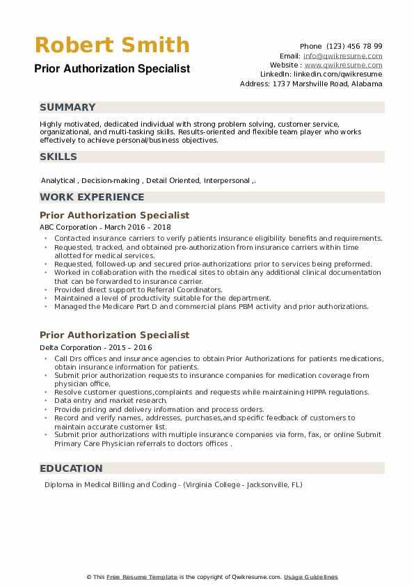 Prior Authorization Specialist Resume example
