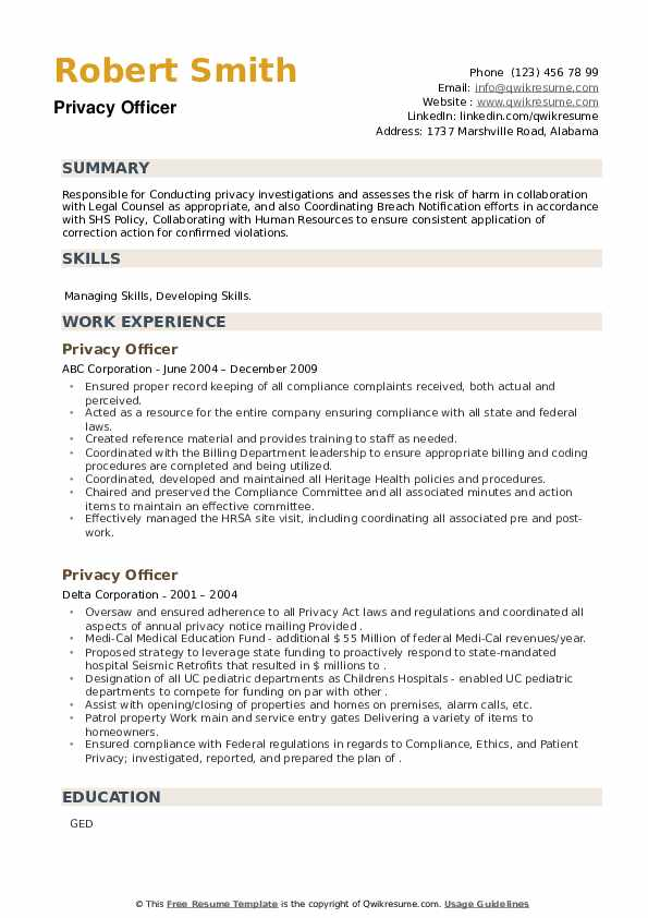 Privacy Officer Resume example