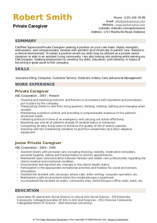 Private Caregiver Resume Samples Qwikresume
