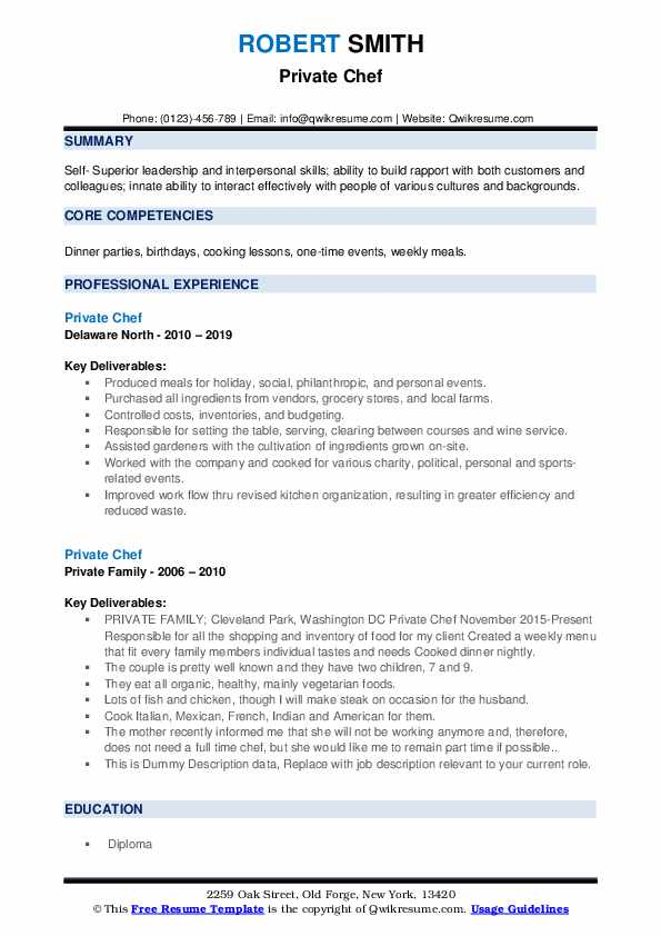 Private Chef Resume Samples Qwikresume