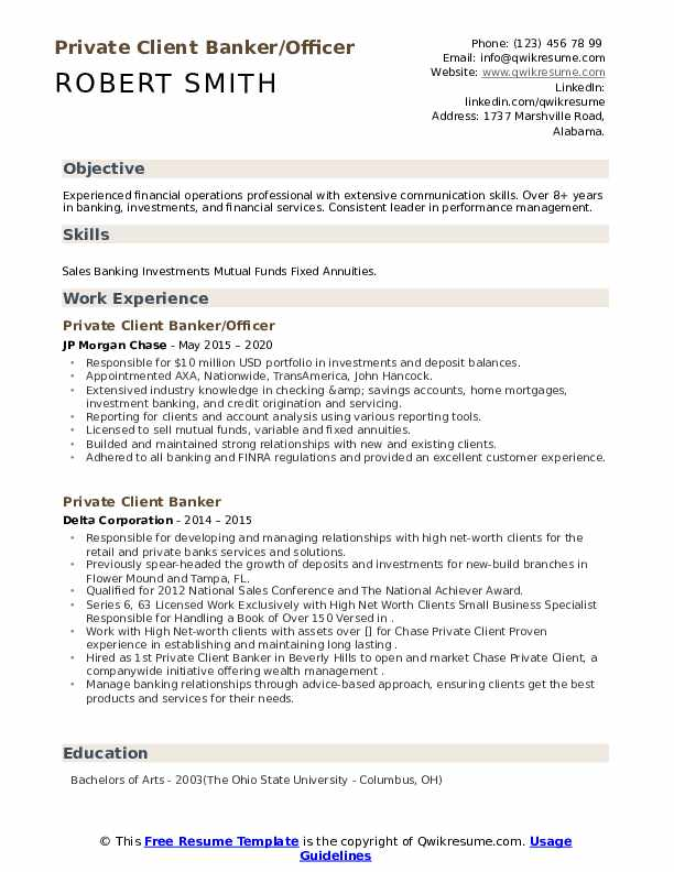 Private Client Banker Resume example