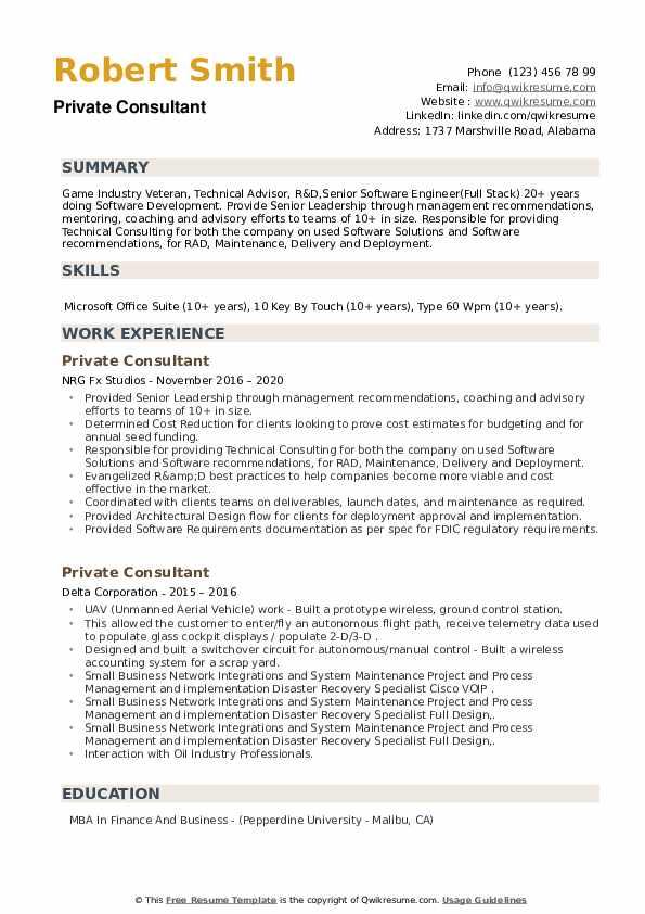 Private Consultant Resume example