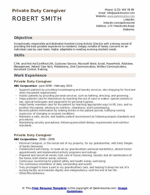 Private Duty Caregiver Resume Format