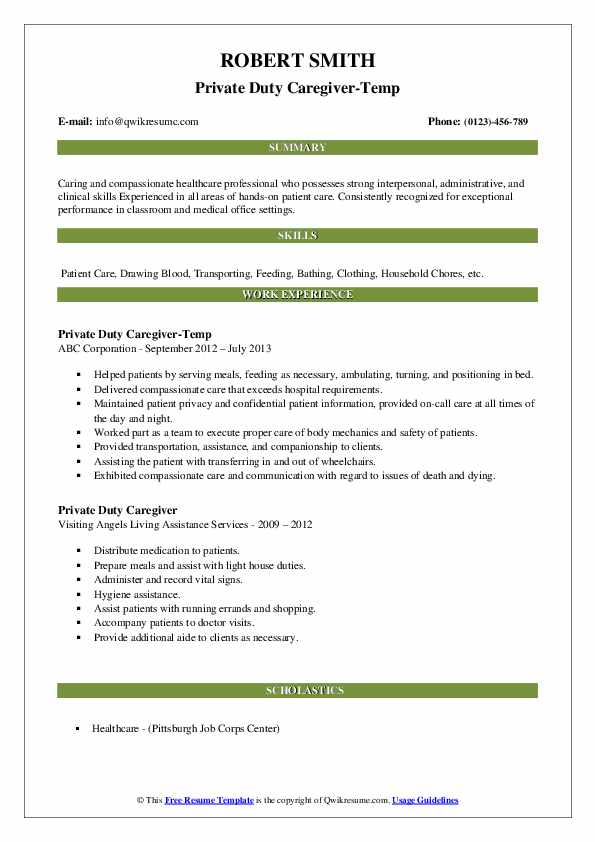 Private Duty Caregiver-Temp Resume Sample
