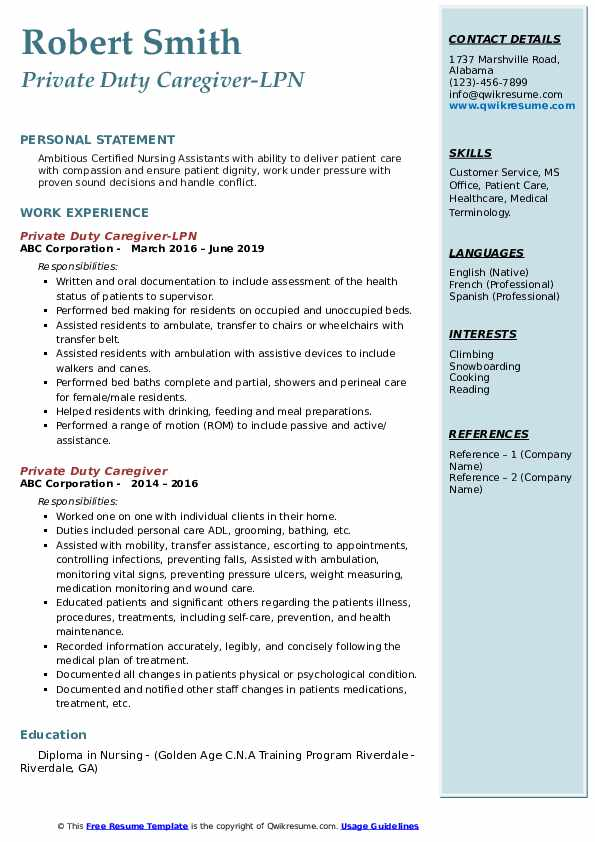 Private Duty Caregiver Resume Samples Qwikresume