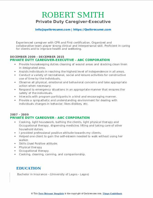 Private Duty Caregiver-Executive Resume Model