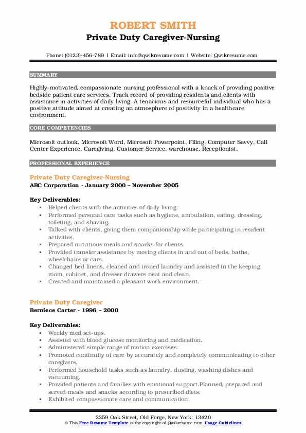 Private Duty Caregiver-Nursing Resume Format