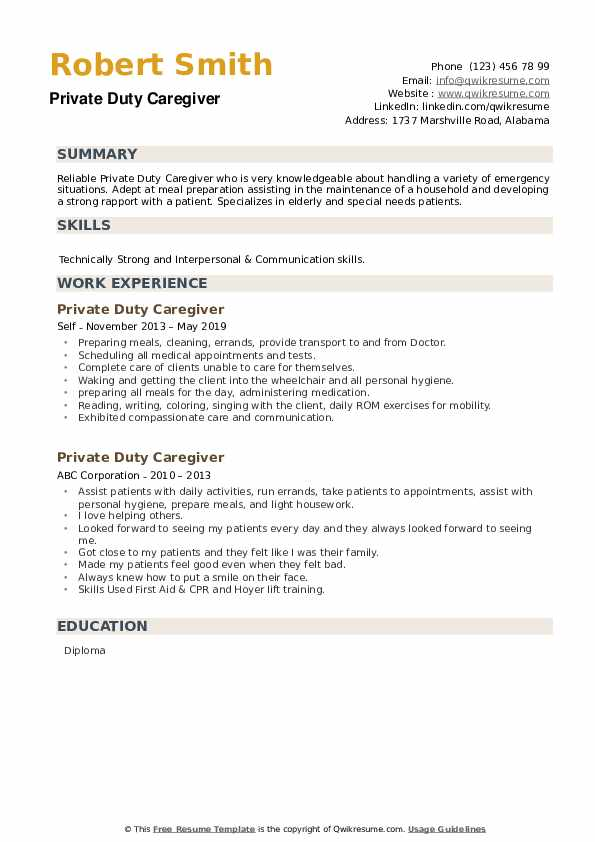 Private Duty Caregiver Resume example