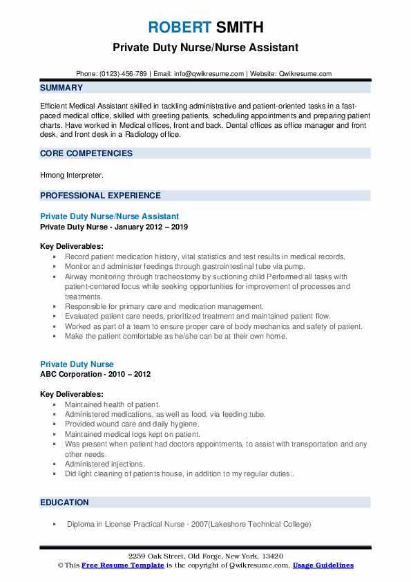 private duty nurse resume samples