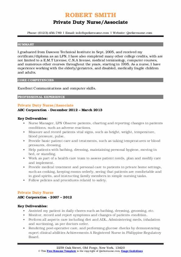 Private Duty Nurse Resume Samples Qwikresume