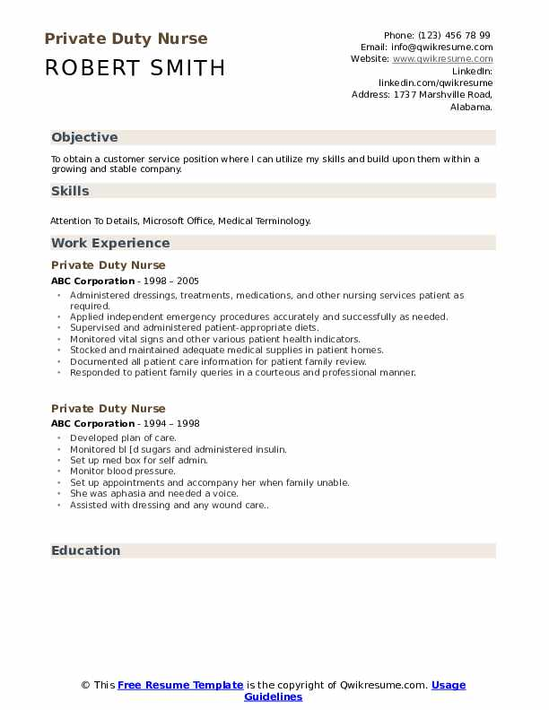Private Duty Nurse Resume example
