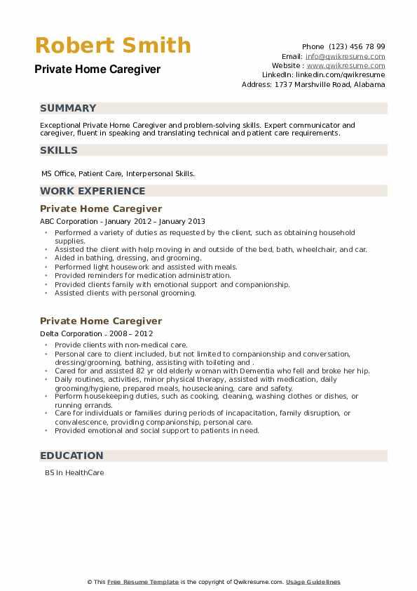 Private Home Caregiver Resume example