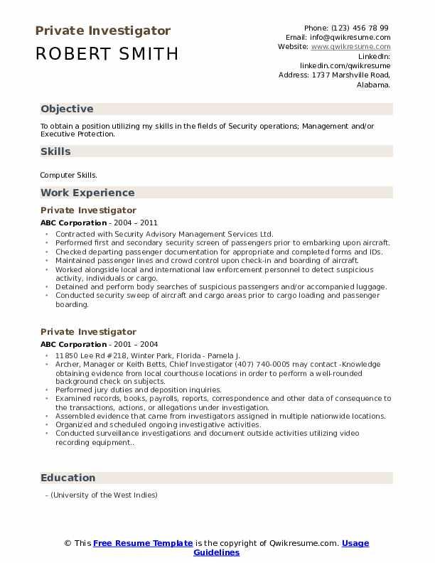 Private Investigator Resume Model