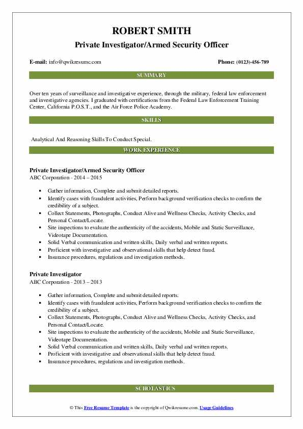 Private Investigator/Armed Security Officer Resume Example