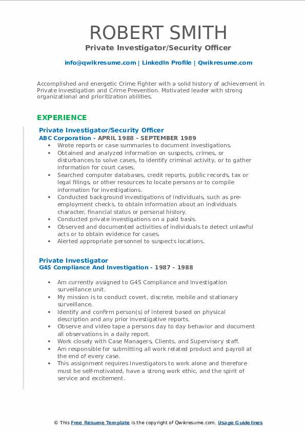 Private Investigator/Security Officer Resume Template