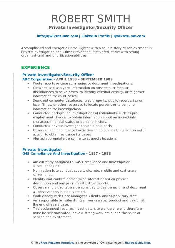 Private Investigator/Security Officer Resume Model