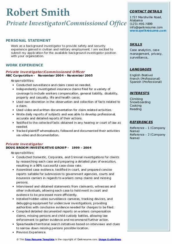Private Investigator/Commissioned Officer Resume Sample