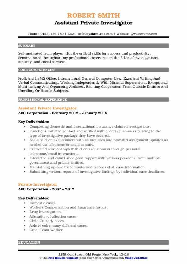 Assistant Private Investigator Resume Model