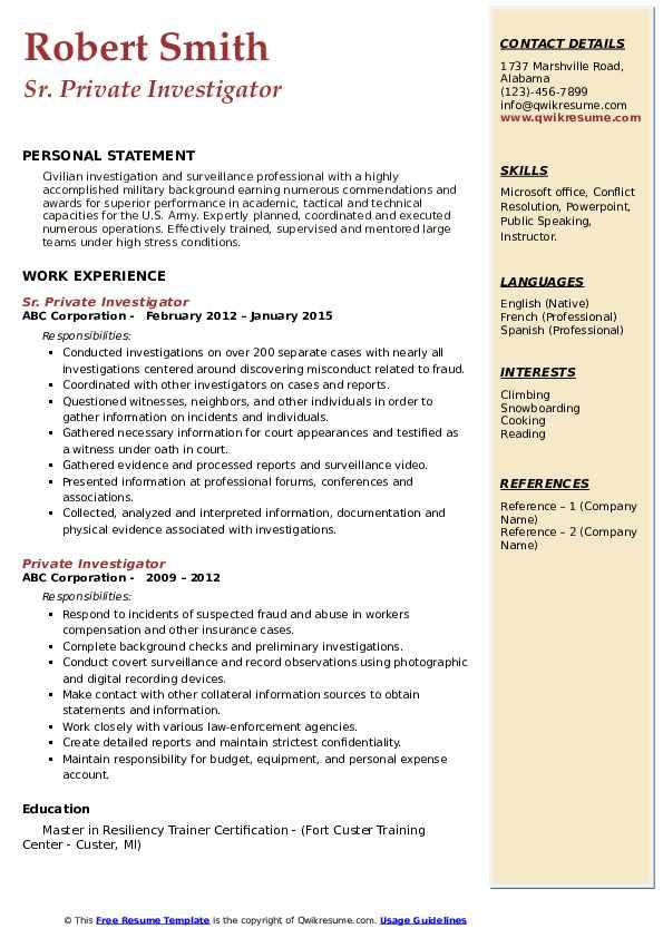 Sr. Private Investigator Resume Format
