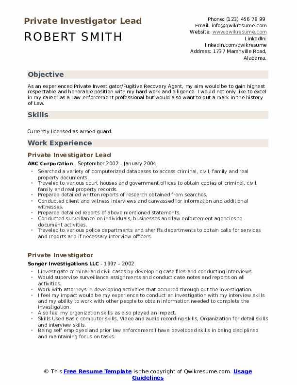Private Investigator Lead Resume Example