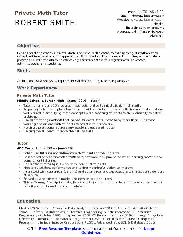 Private Math Tutor Resume Samples | QwikResume