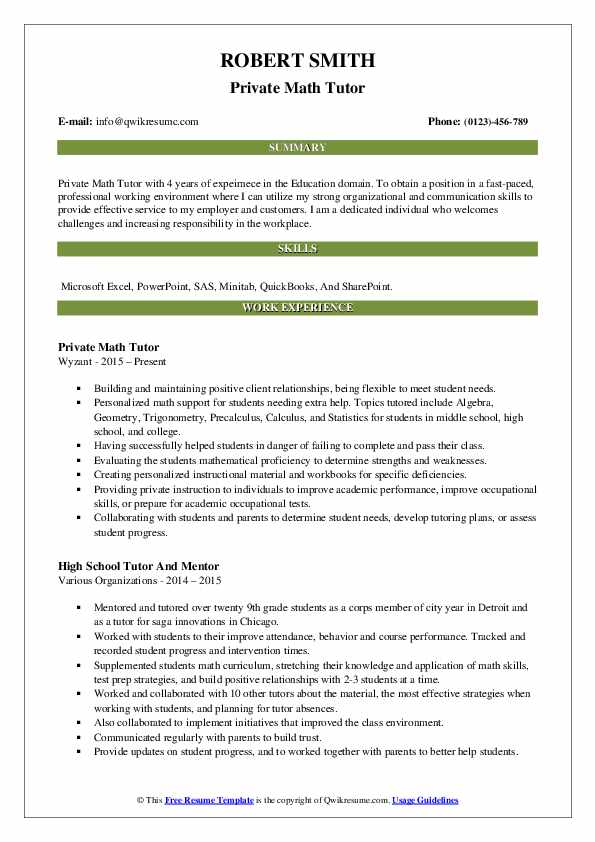 Private Math Tutor Resume Model