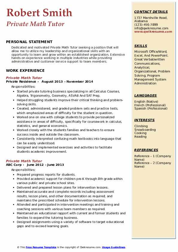 Private Math Tutor Resume Format