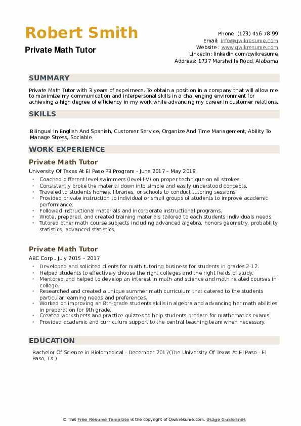 Private Math Tutor Resume