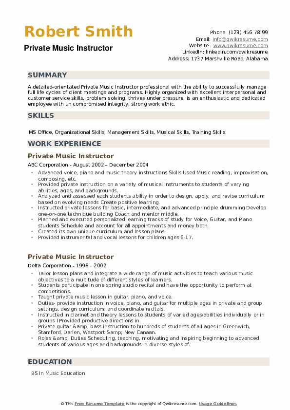 Private Music Instructor Resume example