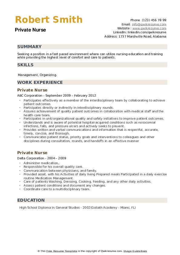 Private Nurse Resume example