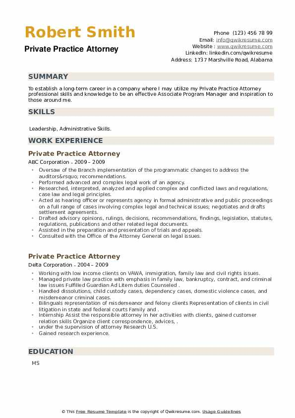 Private Practice Attorney Resume example
