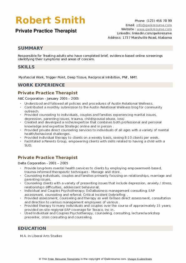 Private Practice Therapist Resume example