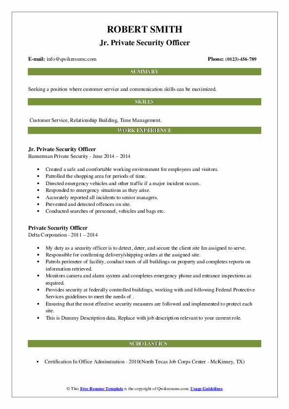 private security officer resume samples  qwikresume