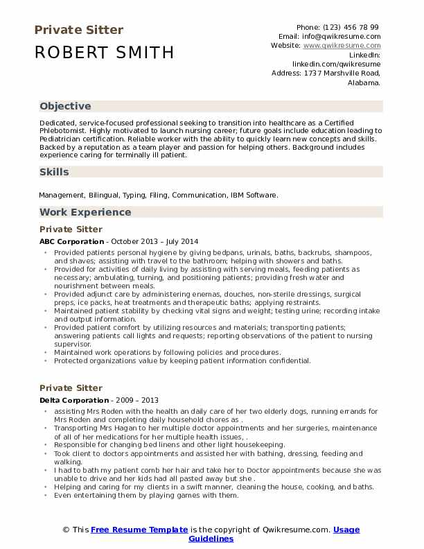 Private Sitter Resume Samples Qwikresume