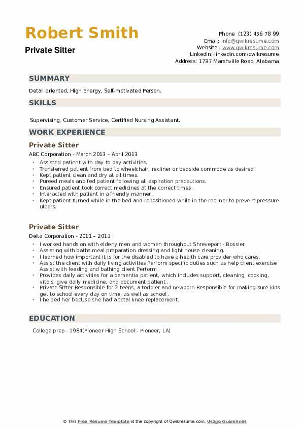 Private Sitter Resume example